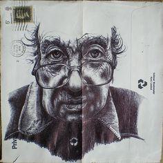 Bic Biro drawings on vintage envelopes