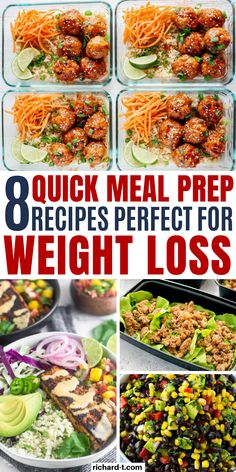 8 Meal Prep Recipe Ideas That Are Really Healthy 8 Healthy Meal Prep Recipes that can help with weight loss you need to try! Meal prep can save you so much time and help you plan ahead. These healthy meal prep recipes are AMAZING! recipes for weight loss Lunch Meal Prep, Meal Prep Bowls, Easy Meal Prep, Healthy Meal Prep, Easy Healthy Recipes, Quick Meals, Healthy Eating, Dinner Healthy, Healthy Weight