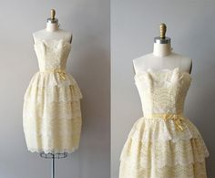 1950s dress / 50s dress / Cornsilk Lace dress by DearGolden
