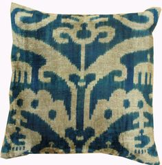 Pillows Gallery: Silk Velvet Ikat Pillow, Hand-woven in Uzbekistan; made in Turkey; size: 1 feet 3 inch(es) x 1 feet 3 inch(es) Ikat Pillows, Cushions, 1 Feet, Rustic Chic, Hand Weaving, Textiles, Velvet, Decorating, Dekoration