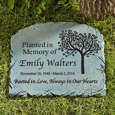 Rooted in Love Memorial Garden Marker A Personal Creations Exclusive! Memories of a loved one live on with this beautiful garden marker. It's the perfect complement to a tree planted in their honor. Glow Garden, Diy Garden, Garden Tools, Garden Ideas, Garden Art, Garden Fences, Hillside Garden, Shade Garden, Memorial Garden Stones