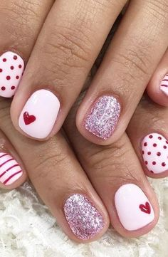 45 Adorable Heart Valentines Day Nail Designs In 2020 - NailStyle Heart Nail Designs, Valentine's Day Nail Designs, Best Nail Art Designs, Nails Design, Cute Nails, Pretty Nails, Hair And Nails, My Nails, Nagellack Trends