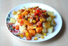 Triple Potato Baked Home Fries (Breakfast) -- Ingredients:  Sweet Potato, Red Potatoes, Onion, Bell Pepper.