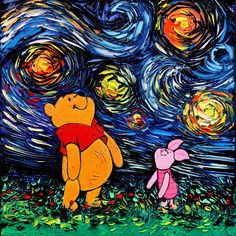 Winnie the Pooh Piglet Art - Oil Painting - Starry Night - impasto original Art by Aja - 12x12 inches van Gogh Never Saw Hundred Acre Wood () by SagittariusGallery