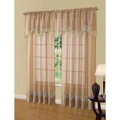 Cavalier Lace Scalloped Valance, Brown