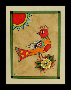 Baby bird 8x10 original German folk art vintage by BlueBirdFolkArt