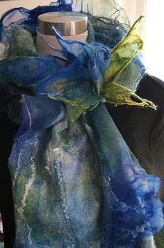 Nuno Felted Silk & Wool Scarflette  with a Nuno Flower Brooch