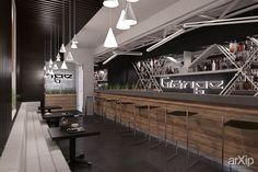 Бар Гранж в Балаклаве от Vitta-group: интерьер, минимализм, ресторан, кафе, бар, 80 - 100 м2, зал #interiordesign #minimalism #restaurant #cafeandbar #80_100m2 #hall arXip.com