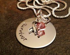SALE!!!  Hand stamped personalized survivor necklace breast cancer awareness