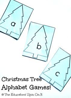 Teaching the alphabet: Christmas Games for Learning the Alphabet. abc and ABC Christmas Tree printables