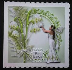 The Snowdrop Fairy by Sue Soules I printed the sheets onto satin photo paper. Cut out the main picture and attached it to a white card blank. The decoupage was added using foam pads. The insert was printed onto 120gsm white paper.