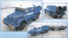 Praga V3S AD 080 Crane 1:32 Scale - Free Vehicle Paper Model Download - Three Versions - Army Green, Blue and Orange