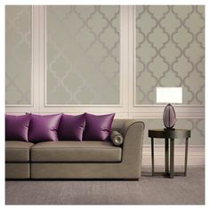 Devine Color Peel and Stick Wallpaper Cable Stitch Pattern - Mirage and Metallic Sterling