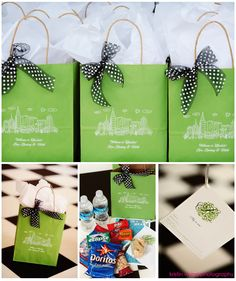 Welcome bags: Telephone numbers for families and other guests at the hotel, a wedding itinerary, nearby attractions and maps. I love this idea. Wedding color green with skyline of New York and a peach bow instead of the black and white Wedding Guest Bags, Wedding Favors, Our Wedding, Wedding Ideas, Wedding Weekend, Wedding Trends, Wedding Inspiration, Wedding Welcome Gifts, Wedding Gifts