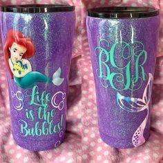 Little Mermaid Ariel Glitter Tumbler Crafty Creations By Amber Nissen Mermaid Cup, Mermaid Kids, Mermaid Glitter, Tumblr Cup, Diy Tumblr, Vinyl Tumblers, Custom Tumblers, Glitter Cups, Glitter Tumblers
