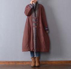 Manteau d'hiver lâche femmes en lin coton - Buykud- 1