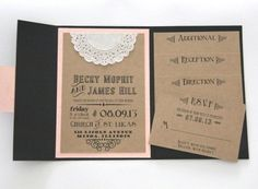 Rustic Wedding Invitation - Pocket Fold Invitation Set with 4 Inserts - Chalkboard Design - Sample Set.