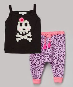 Look what I found on #zulily! Black Skull Tank & Purple Harem Pants - Infant & Kids #zulilyfinds