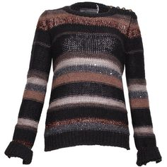 Pre-owned Zadig & Voltaire Striped Chunky Knit Jumper ($79) ❤ liked on Polyvore featuring tops, sweaters, brown, brown crew neck sweater, chunky knit sweater, stripe sweater, long sleeve crew neck sweater and sequin stripe sweater