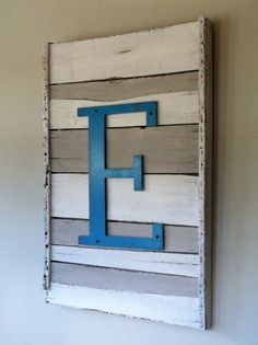 Vintage Rack with 2 tone paint & initial, love the beachy vibe it provides
