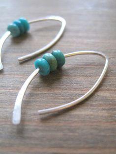 Sterling Turquoise Earring, silver earrings, small earrings,  gemstone earrings, maryandjane etsy