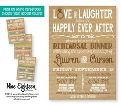 Rehearsal Dinner Invitation. Love And Laughter before the Happily Ever After.  Custom PRINTABLE PDF invitation.  I design, you print.