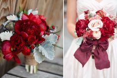 6 brautstrauss rot idee bilder fotos rose schleife Hochzeit in Rot Inspiration und Ideen