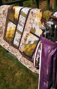 Bargello Bricks Quilt, made with Blank Quilting's retro golf fabrics and bargello of course!!