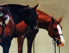 Dozing © Janet Crawford || chestnut english art | bay hunter art |