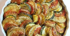"""""""Vegetable Tian - potatoes, zucchini, yellow squash and tomatoes topped with parmesan cheese. Looks delicious!"""" **Could sub nutritional yeast for parmesan to make vegan! Food For Thought, Think Food, I Love Food, Side Dish Recipes, Vegetable Recipes, Vegetarian Recipes, Cooking Recipes, Healthy Recipes, Vegetarian Dish"""