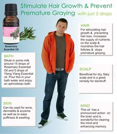 Rosemary oil has a reputation for stimulating hair growth and preventing hair loss. The improved blood flow due to massaging with this natural oil increases the supply of nutrients on the scalp and nourishes the hair follicles and stops premature greying.