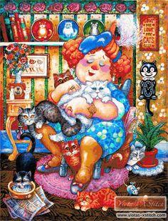 Lady who loves cats cross stitch kit
