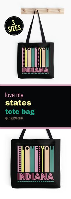 INDIANA - I LOVE MY STATE   Tote Bags  I Love My States Retro Vintage Lover Tote bag  (Also available in mugs, cups, shirts, duvet covers, acrylic block, wall art,   wallet, hp cases, baby onsies, clocks, pillow , dress)  #RetroGifts #VintageGifts #Grandparents #Ilovemystates #USStates   #Redbubble #Teepublic #Gifts #Retro #vintage #Lisaliza #Tote  #Womenfashion #women #giftideas    #Indiana
