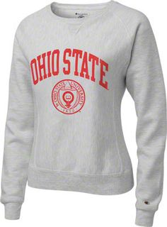 Ohio State Buckeyes Women s Silver Grey Champion Seal Reverse Weave  Crewneck Sweatshirt Louisville Football cd4f0b3118