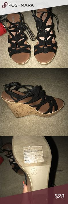 Strappy Black Lace Up Wedges never worn.  in very good condition. size 7. need gone. Missoni Shoes Wedges