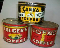 Vintage Folger's, Hills Bros., Sanka 1-pound Coffee Cans Tins Lot | eBay