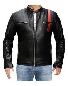 Biker Black Front stripes Mens Leather Jacket
