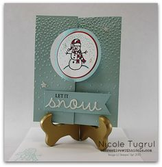 Sparkly Season Flip card gives a real wow factor with embossing and Dazzling Diamonds glimmer paper. This fun little snowman has a real wow factor! Flip Cards, Folded Cards, Stampin Up Christmas, Christmas Snowman, Holiday Cards, Christmas Cards, Swing Card, Snowman Cards, Winter Cards