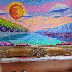 Representing landscape with sunset/Maibis Navarro Art Original Modern Impressionism Painting/ Impressionism/impressionism art/ impressionism painting/ impressionism aesthetic/modern art/ modern painting/ Great Business Ideas, Modern Impressionism, Modern Art, Original Artwork, Sunset, Landscape, The Originals, Canvas, Painting