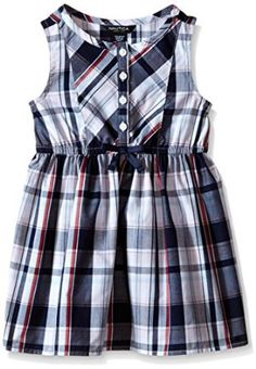 Nautica Girls Plaid Dress with Bow Detail 100% Cotton Imported Machine Wash Multi color plaid Functional front placket Bow detail at center front waist