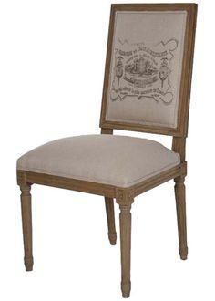 Zentique Furniture Louis XVI Dining Chair Natural Linen ZENFC0104E2553A0039