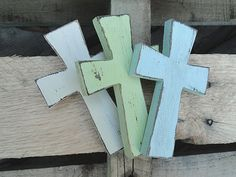 Painted and Distressed Wood Cross Magnet