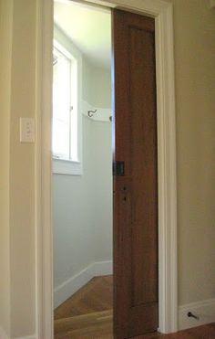 Repurpose closet door as pocket door