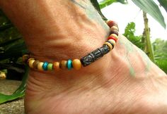 Beaded Ankle Bracelet with Wooden Beads / Stretchy Hippie