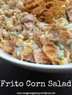 The best make ahead crowd pleasing salad ever. This Frito Corn Salad is your go to crowd pleasing perfect potluck salad. Super easy to make ahead of time and mix right before serving. Check out all my tips to make the perfect potluck salad. Frito Corn Salad, Corn Salads, Savory Salads, Fritos Salad, Corn Chip Salad, Vegetable Salads, Make Ahead Salads, Salads For A Crowd, Simple Salads