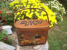 Wood Purse Hand Paint Vintage Picnic Basket Old Stores vintage boho   WoodyswagRecycle4U - Accessories on ArtFire