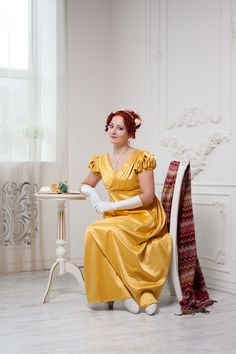 robe Regency, jaune - coton brillant