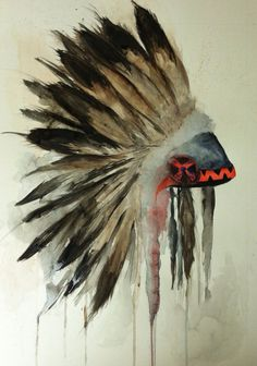 Watercolor Indian Headdress by GingerSolutions on Etsy, $55.00