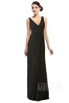 Charming+Sheath-Column+V-Neck+Natural+Floor+Length+Chiffon+Black+Sleeveless+Side+Zipper+Bridesmaids+Dress+with+Draped+COSF15001 #dress #cocomelody