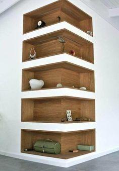 Space-Saving Corner Shelf Design Ideas www. - Home Decor Art - Space-Saving Corner Shelf Design Ideas www. Corner Shelf Design, Diy Corner Shelf, Corner Wall Shelves, Book Shelves, Storage Shelves, Corner Storage, Shelves Built Into Wall, Salon Shelves, Book Storage